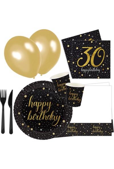 Roll-up 30 Yaş Işıltılı Doğum Günü Parti Seti 16 Kişilik 113 Parça