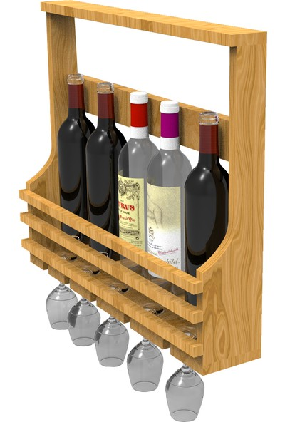 Platinreyon Bardak Askılı Ahşap Şaraplık İçkilik Doğal Ahşap Naturel Renk
