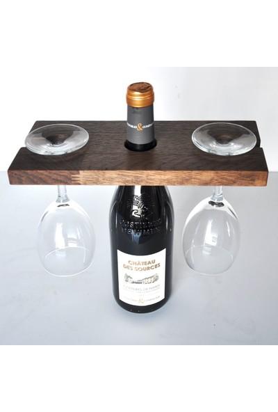 3kafa1fikir Şaraplık Masif Ahşap 2 Kadehli