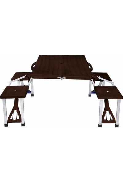 Kurt Plastik Katlanır Piknik Masası Ahşap Desenli Maun