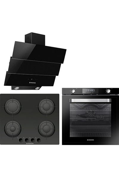Hoover 3lü Ankastre Set Siyah (HOAT 3150 BI/E Ankastre Fırın + HGV64SBM Ankastre Ocak + HPM 656 BTK Davlumbaz