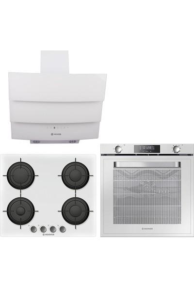 Hoover 3lü Ankastre Set Beyaz (HOAT 3150 WI/E Ankastre Fırın + HVG64MW Ankastre Ocak + HPM 656 WTK Davlumbaz