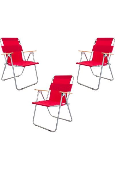 Bofigo 3 Adet Katlanır Sandalye Kamp Sandalyesi Balkon Sandalyesi Katlanabilir Piknik Ve Bahçe Sandalyesi Kırmızı