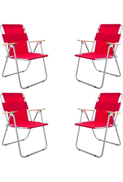 Bofigo 4 Adet Katlanır Sandalye Kamp Sandalyesi Balkon Sandalyesi Katlanabilir Piknik Ve Bahçe Sandalyesi Kırmızı