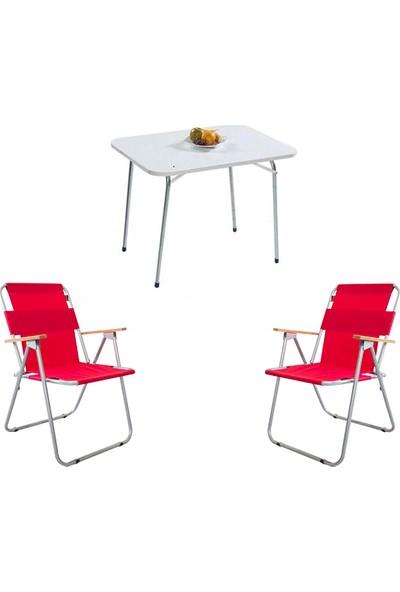 Bofigo 60X80 Katlanır Masa + 2 Adet Katlanır Sandalye Kamp Seti Bahçe Balkon Takımı Kırmızı