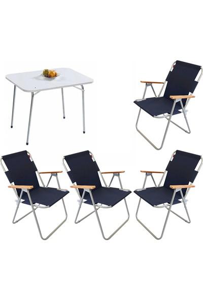 Bofigo 60X80 Katlanır Masa + 4 Adet Katlanır Sandalye Kamp Seti Bahçe Balkon Takımı Lacivert