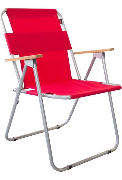 Bofigo Katlanır Sandalye Kamp Sandalyesi Balkon Sandalyesi Katlanabilir Piknik Ve Bahçe Sandalyesi Kırmızı