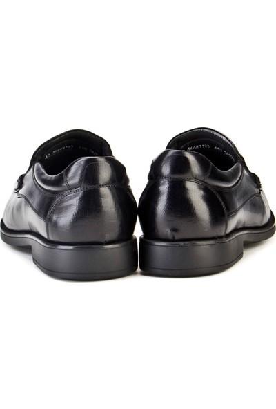 Cabani Bağcıksız Streç Detaylı Günlük Erkek Ayakkabı Siyah Buffalo Deri