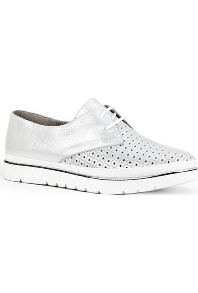Cabani Lazer Detaylı Bağcıklı Günlük Kadın Ayakkabı Beyaz Deri