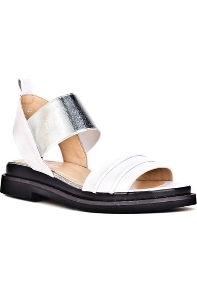 Cabani Streç Detaylı Günlük Kadın Sandalet Bej Deri