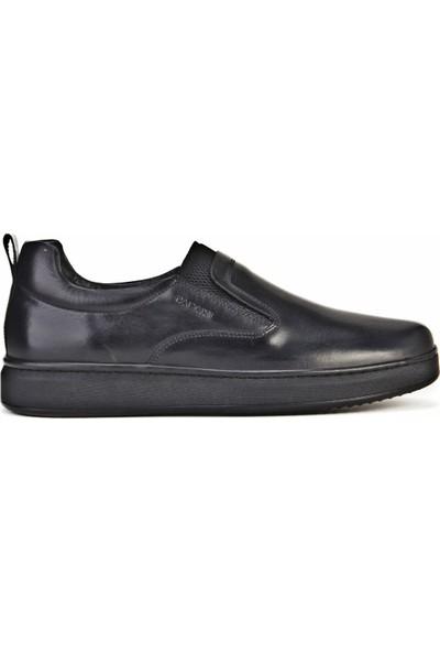 Cabani Streç Detaylı Bağcıklı Günlük Erkek Ayakkabı Siyah Analin Deri