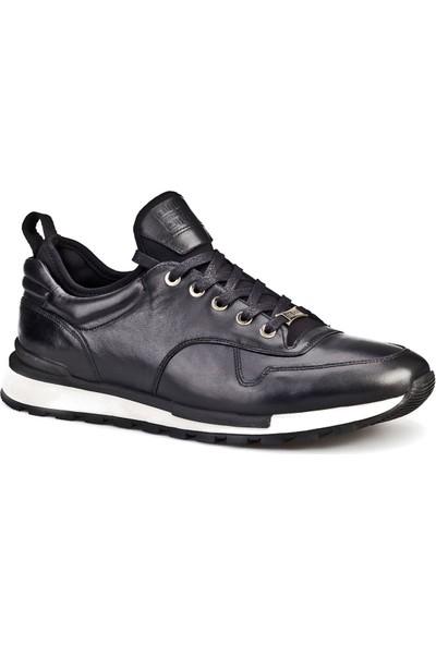 Cabani Bağcıklı Streç Detaylı Sneaker Erkek Ayakkabı Siyah Deri