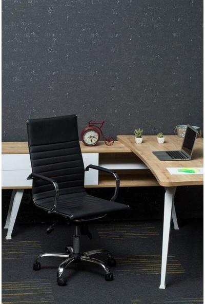 Mezura Ofis Chrome Yönetici Koltuğu Siyah