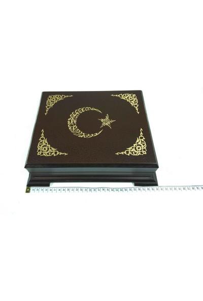 Gürgen Ahşap Kadife Saklama Sandıklı Ay Yıldız İşlemeli Kur'an-ı Kerim
