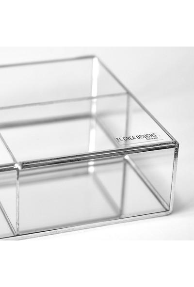 El Crea Designs Gümüş Kapaklı 3 Bölmeli Altı Aynalı Takı Kutusu
