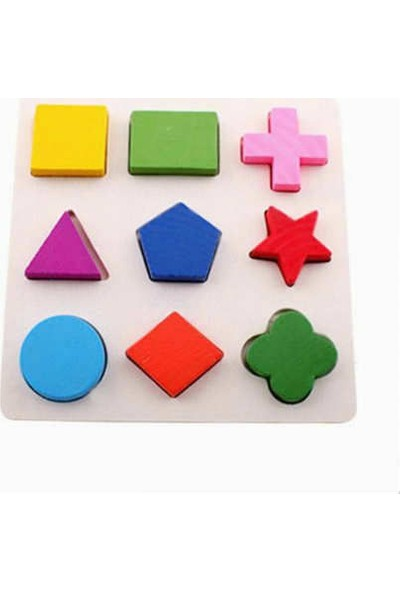 Hyd Oyuncak Ahşap Eğitici Zeka Blok Geometri Şekil Bul Tak+Kule 2'Li Set