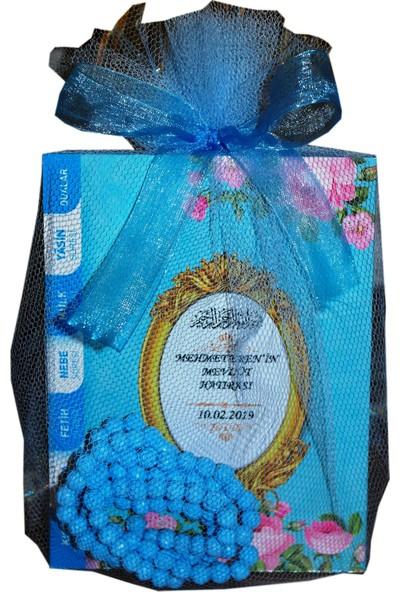 Süslü Şekerleme Çanta Boy Tülde İsimli Yasin Kitabı Gül Desenli Tesbih Bebek Şekeri Sünnet Mevlüt Seti Mavi