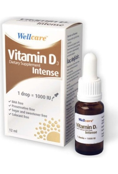 Wellcare Vitamin D3 İntense (Drop=1000 Iu) 12Ml