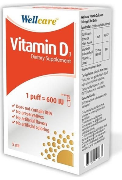 Wellcare Vitamin D3 600 IU 5ML