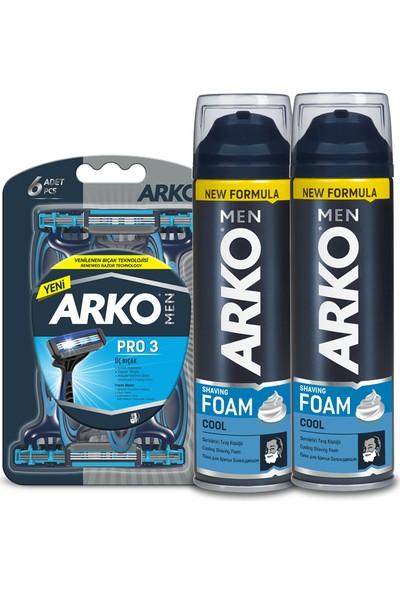 Arko Men T3 Pro Tıraş Bıçağı 6'lı & Tıraş Köpüğü Cool 2'li 200 ml