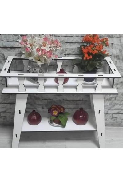 Veronya Beyaz Ahşap Saksılık Çiçek Standı Çiçeklik Çok Amaçlı Raf