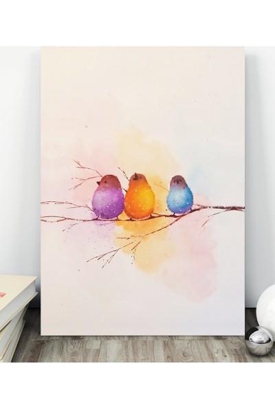 Decobritish Renkli Serçeler Kanvas Tablo