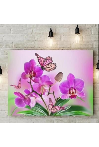 Decobritish Mor Orkide Kanvas Tablo