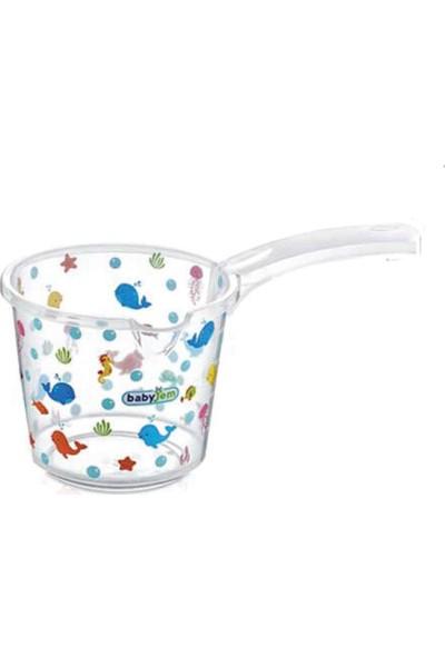 Babyjem Bebek Banyo Maşrapası Şeffaf Desenli Beyaz