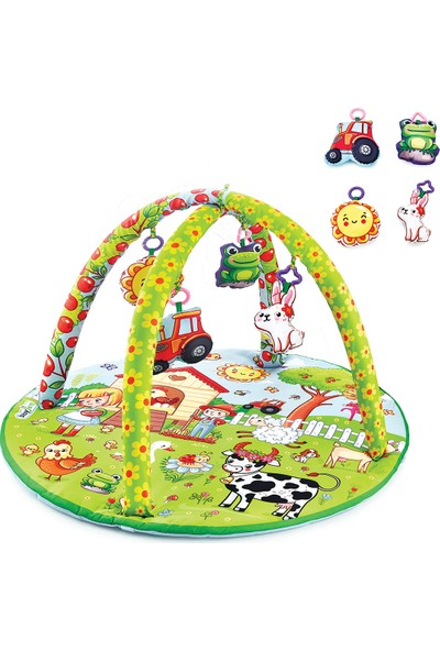 Babyjem Oyuncaklı Oyun Minderi Çiftlik Yuvarlak