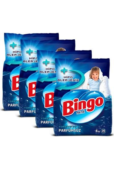 Bingo Matik Toz Çamaşır Deterjanı 4 kg Parfümsüz 4'lü