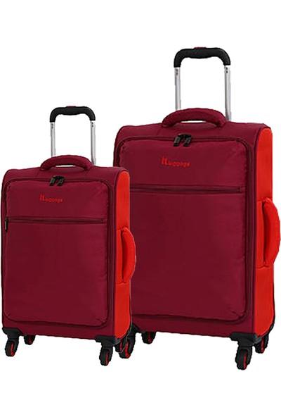 8bdceeab2c7fc IT Luggage 2232 Kumaş 2'li Valiz Seti Kırmızı (Kabin + Orta)