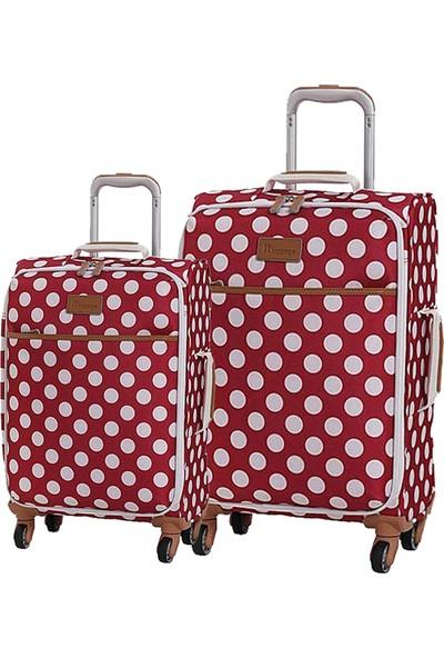 b8249519564c3 IT Luggage 2263 Kumaş 2'li Valiz Seti Kırmızı (Kabin + Orta)