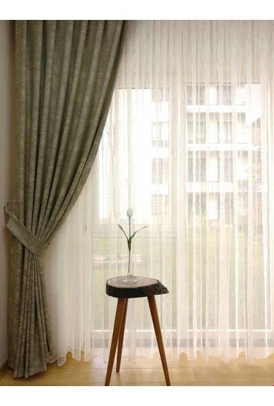 Caserta Home Bulut Desen Koyu Yeşil Sık Pileli Jakar Tek Kanat Fon Perde - ezo 12753