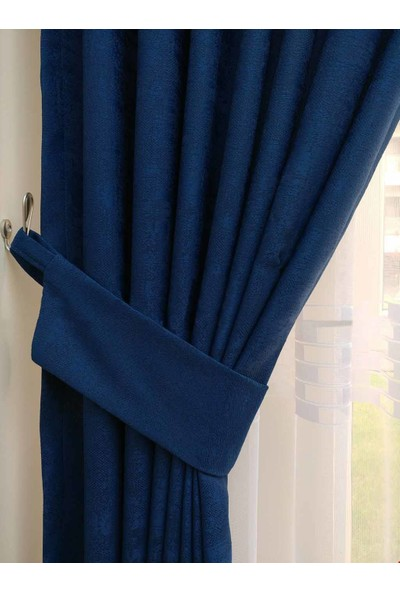 Caserta Home Bulut Desen Mavi Orta Sıklıkta Pileli Jakar Tek Kanat Fon Perde - ezo 12719