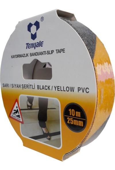 Tenyale 25 mm 10 Metre Sarı Siyah Kaydırmazlık Bandı