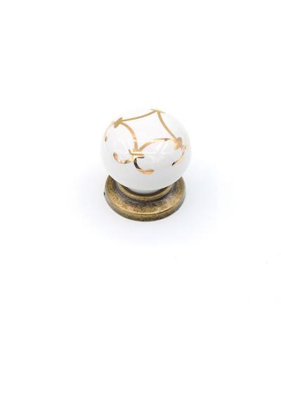 Kulpca Porselen Altın Desen Düğme Kulp