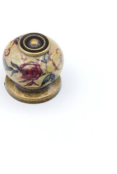 Kulpca Porselen Rustik Serig Düğme Kulp