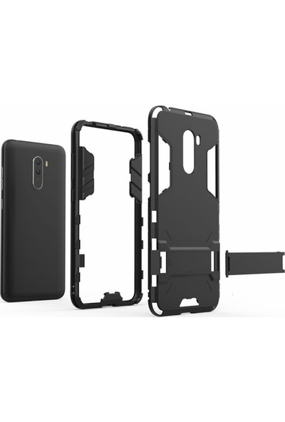 Microcase Xiaomi Pocophone F1 Alfa Serisi Armor Standlı Koruma Kılıf