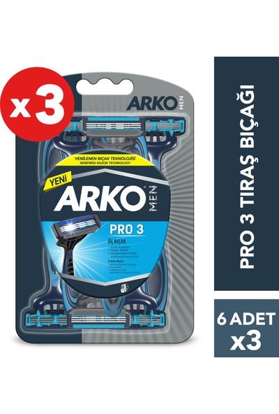 Arko Men T3 Pro 3 Bıçaklı Tıraş Bıçağı 18'li