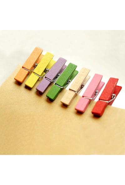 Burdan Eve Renkli 20 Adet Küçük 2 cm Mandal Ataç Fotoğraf Askısı Mandalı