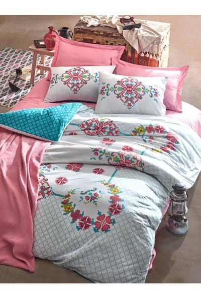 Cotton Box Alaturca Çift Kişilik Yatak Örtüsü Takımı Gülçehre Pembe