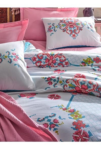 Cotton Box Alaturca Tek Kişilik Yatak Örtüsü Takımı Gülçehre Pembe
