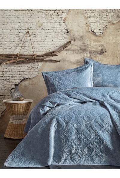 Cotton Box Soft Çift Kişilik Yatak Örtüsü Seti Mavi