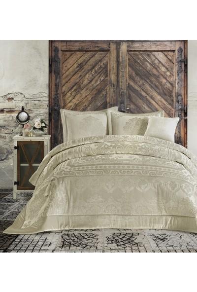 Cotton Box Velvet Çift Kişilik Yatak Örtüsü Seti Carmela Altın