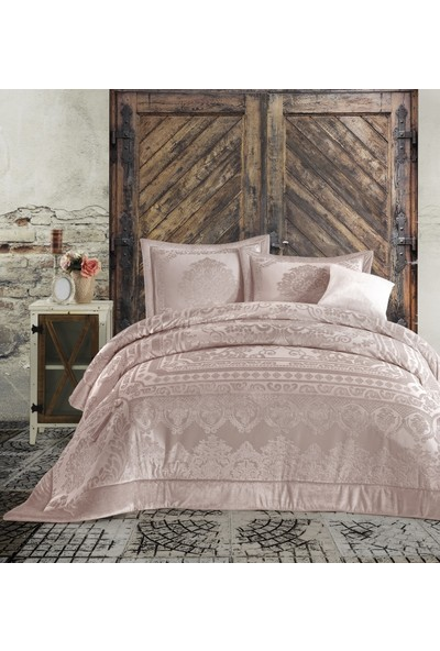 Cotton Box Velvet Çift Kişilik Yatak Örtüsü Seti Carmela Pudra