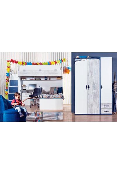 Yıldız Mobilya Trend Mavi Genç - Çocuk Odası Ranza Seti