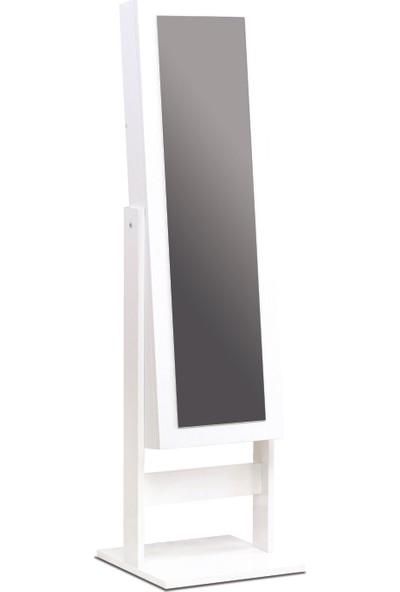 Karen Aynalı Takı Dolabı Beyaz