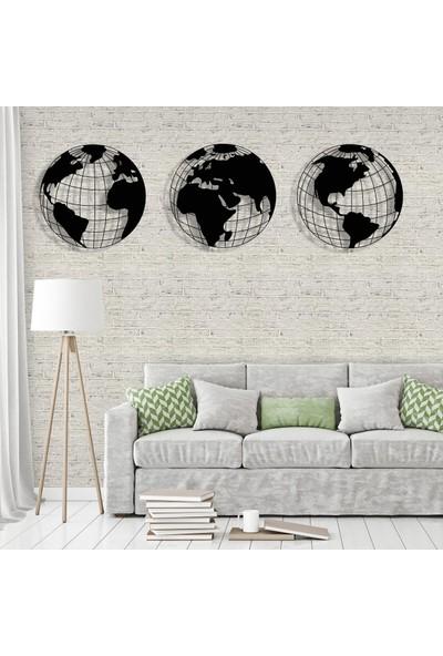 Tablo Art House Metal Tablo Dünya Haritası 3 Parçalı 50 x 50 cm