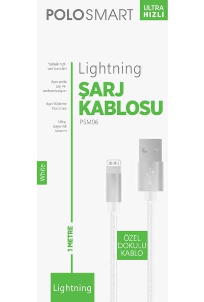 Polosmart PSM06 1 Metre Beyaz Lightning Hızlı Şarj Kablosu