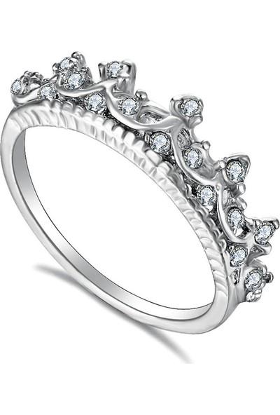 VipBT Gümüş Rengi Kristal Taç Yüzük